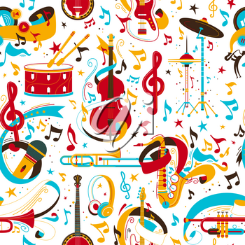 Jazz music instruments retro vector seamless pattern. Banjo, drumset, trumpet, musical notes texture. String, brass, instruments. Classical orchestra, rock concert, music festival background