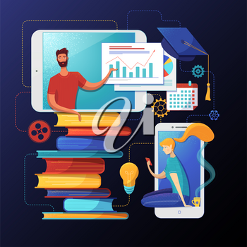 Remote university degree flat vector illustration. Elearning, distance courses, remote academic education. Girl reading on Internet, using smartphone character. Business coach presentation clipart