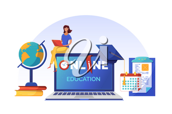 Online courses planning banner flat vector template. Woman studying on Internet cartoon character. Open laptop with typography on screen. Elearning, Internet courses, university distant program