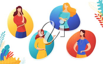 Girls communication flat vector illustration. Cartoon ladies gesturing in round frames characters set. Female partners, colleagues dialog, interaction. Women expressing different emotions