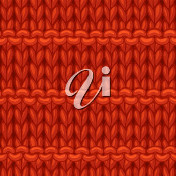 Hand-drawn jersey cloth boundless background. High detailed red woolen hand-knitted fabric material.