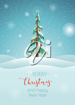 Merry Christmas wishes flat vector poster template. Winter season holiday, Happy New Year greetings. Xmas congratulation red ink calligraphy. Decorated fir tree in snowy valley, postcard design layout