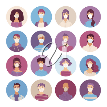 Women and men wearing safety breathing masks icons set. Respirators and medical masks. Disease, flu, coronavirus COVID-19, air pollution, allergies. Vector flat portraits young and aged people.