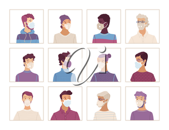 Avatars set of men in protective face masks. Coronavirus protection and prevention vector illustration. Multicultural group of people wearing disposable medical masks. Self-isolation and quarantine.
