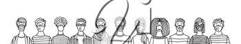Multicultural group of people wearing medical masks to prevent disease. International corona virus protection and epidemic prevention vector outline illustration. Global self-isolation and quarantine poster.