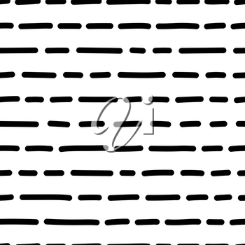 Vector horizontal dashes hand drawn seamless pattern. Uneven ink lines monocolor drawing. Irregular freehand shapes line art. Monochrome texture. Wrapping paper, wallpaper, textile modern design