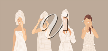 Cleaning skin, washing, moisturizing, beauty mask. Beautiful young women in towel, pajama, underwear, and bathrobe take care of their skin. Flat cartoon vector characters