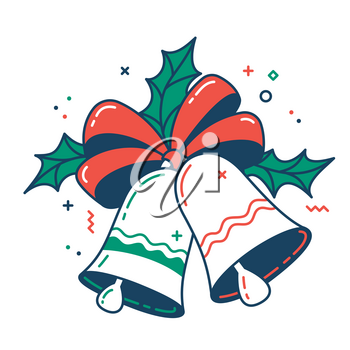 Christmas bells color flat icon. Thin line pictogram. Isolated vector illustration with contour. Editable stroke. Pixel perfect