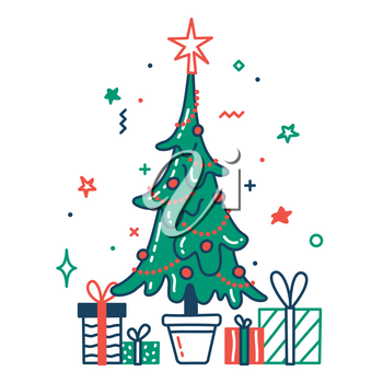 Christmas tree with baubles and gifts color flat icon. Thin line and fill pictogram. Isolated vector illustration with contour. Editable stroke. Pixel perfect
