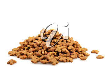 Dry dog food isolated on white background.