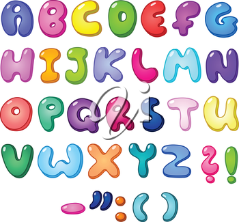 3d bubble shaped alphabet set