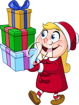 Young girl carrying stack of Christmas gift boxes