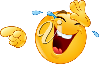 Emoticon laughing and wiping tears away while pointing at something or someone with his other hand