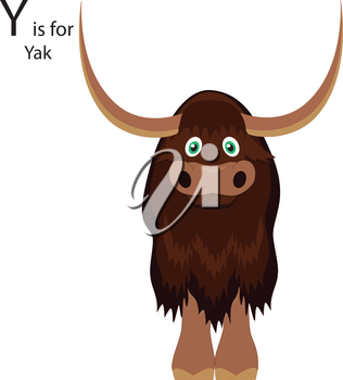 Royalty Free Clipart Image of a Yak making the letter 'Y'