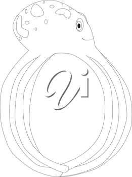 Royalty Free Clipart Image of an octopus forming the letter 'O'