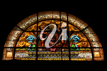 the colored window in the church of chiavari italy