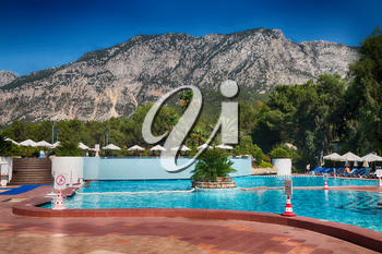 blur in turkey resort pool luxury vacation and background  mountain