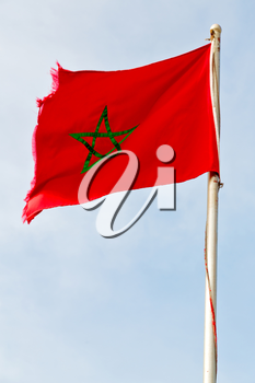 waving flag in the blue sky tunisia  colour and wave