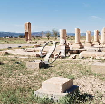 in iran   pasargad the old construction  temple and grave column blur