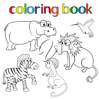 Kit of animals for coloring book with hippo, lion, zebra, hummingbird and monkey, cartoon vector illustration