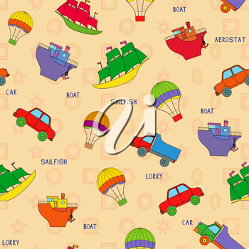 Seamless various transport technique pattern with car, lorry, boat, sailfish, aerostat and their titles. Background can be used as a separate seamless pattern
