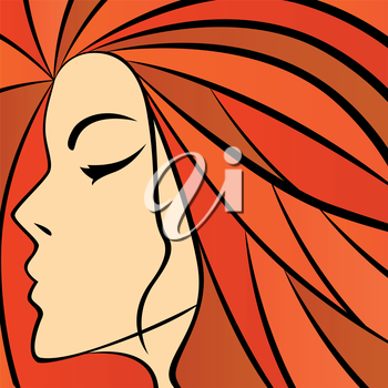 Abstract women portrait with fiery hair, colorful hand drawing vector artwork