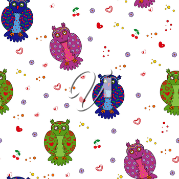 Seamless vector illustration with different multicolor stylized owls