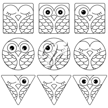Set of nine funny black and white owl faces placed in geometric shapes: square, circle and triangular and isolated on a white background, cartoon vector outline as icons