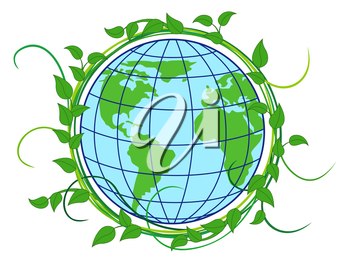 Planet Earth with depiction of continents in the wreath with green lianas as a concept of Earth Day, vector illustration isolated on the white background