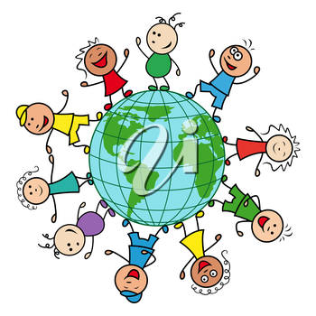 Happy people of different nationalities together around the globe celebrate the Earth Day, cartoon vector illustration
