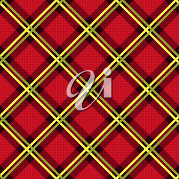 Diagonal seamless vector fabric pattern mainly in red color with green and yellow lines