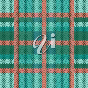 Seamless vector pattern as a woollen Celtic tartan plaid or a knitted fabric texture in green, turquoise and terracotta light colors