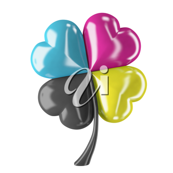 3d render of cmyk clover