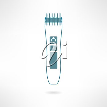 Hair trimmer and styler in modern flat design. Clipper icon. Vector illustration