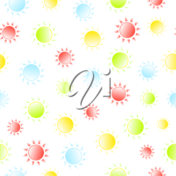 Bright sunny seamless patten. Summer and spring background. Vector illustration