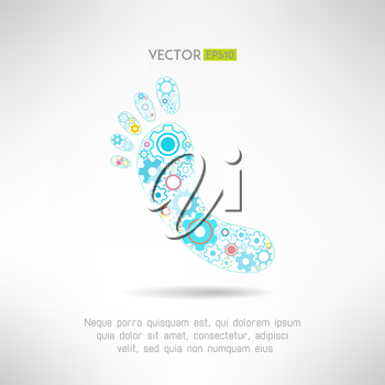 Feet massage sign and logo with gears. Health mechanics concept. Vector illustration