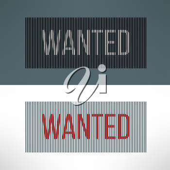 Vector wanted sign on a striped background.