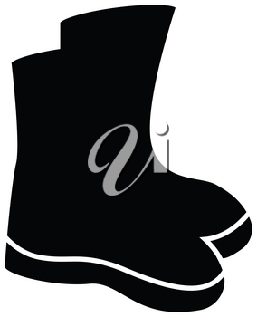 Simple flat black shoes icon vector