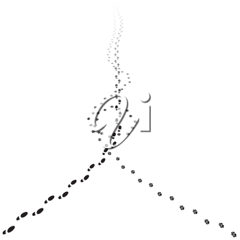 Human and dog tracks walking away. Illustration of receding footprints with copy space. Vector EPS10.
