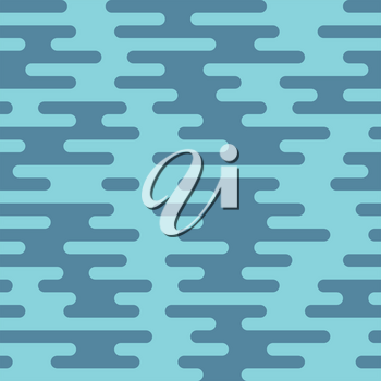 Ripple Irregular Rounded Lines Seamless Pattern. Blue tileable vector background in flat style.