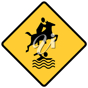 Royalty Free Clipart Image of a Horseback Rider and Swimmer Sign