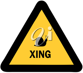 Royalty Free Clipart Image of a Snail Crossing Sign