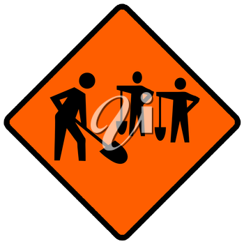 Royalty Free Clipart Image of a Work Crew Caution Sign