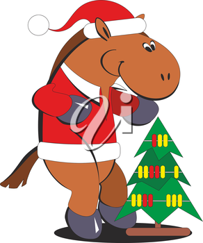 Royalty Free Clipart Image of a Christmas Horse