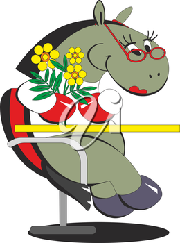 Royalty Free Clipart Image of a Horse with Flowers