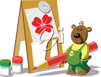 Vector. Bear-painter color 12