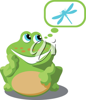 Vector. Frog with dragonfly 02