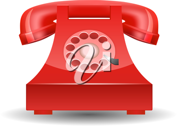 Red Phone with Rotary Dial isolated on white background. Vector illustration