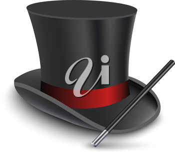 Magician Top Hat with stick. Vector illustration