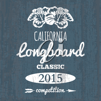 California longboard competition. t-shirt graphic vector illustration